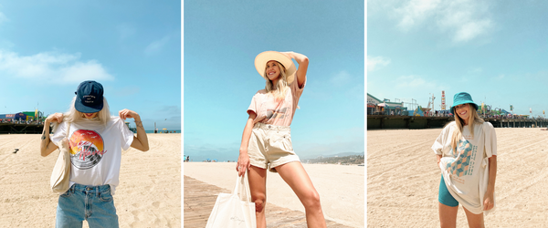 a collage of three ladies wearing girl dangerous t-shirts on the beach