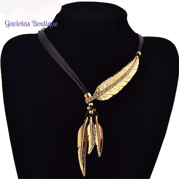 Feathers of Eagle Boho Style-necklace-Gaviotas Boutique