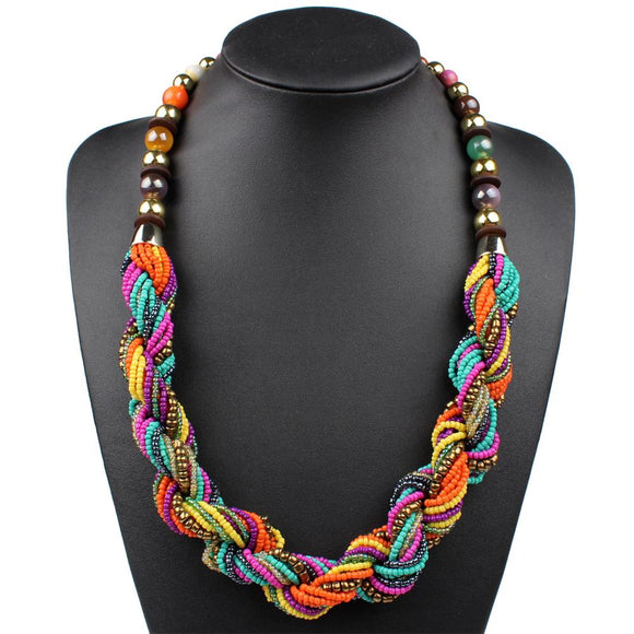 Handmade Colorful Bohemian Statement Necklace-Gaviotas Boutique