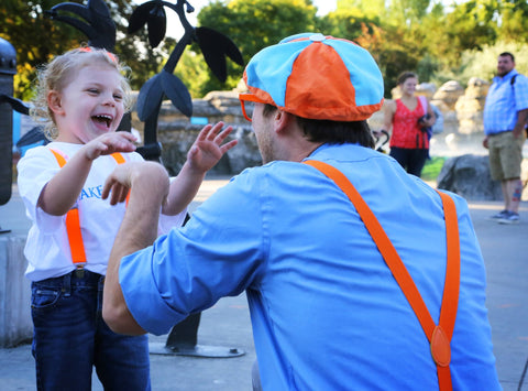 Friends fast, Ava and Blippi mess around at the Woodland Park Zoo in Seattle