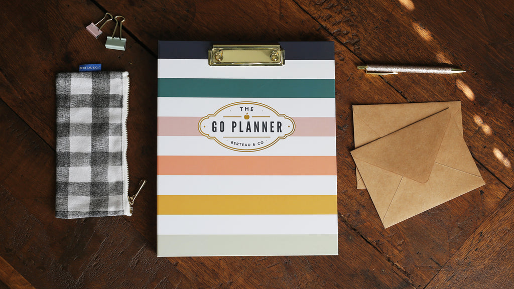 Berteau Stripe GO Daily Planner and Buffalo Check Pencil Pouch