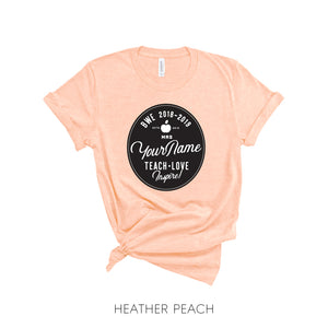Personalized Teacher Name Circular Farmhouse-Style T-Shirt