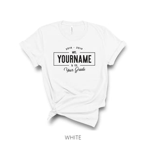 Personalized Teacher Name Linear Farmhouse-Style T-Shirt