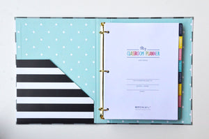 "SCRATCH & SCUFF SALE - Black & White Buffalo Check 9"" x 12"" Teacher Binder Planner"