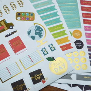 Teacher Planner Sticker Set with Gold Foil Accents