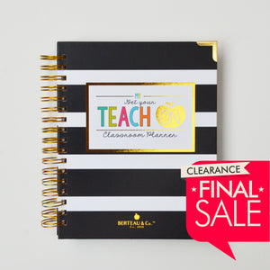 Black & White Stripe Small Teacher Planner