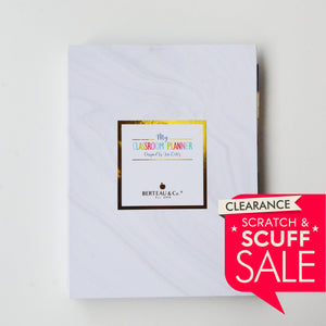 "SCRATCH & SCUFF SALE - UNDATED Marble Design 9"" x 12"" Teacher Binder Planner"