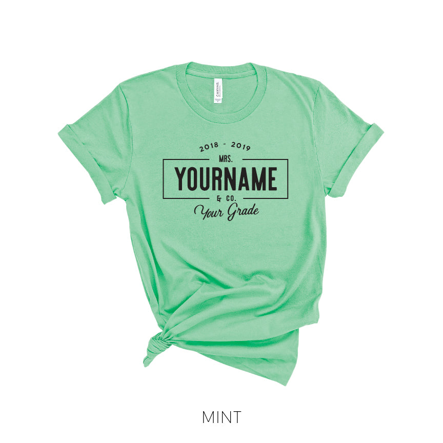 Personalized Teacher Name Linear Farmhouse Style T Shirt