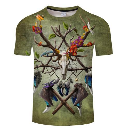 Native American Skull By Sunima Art T-Shirt - Off Tap Gear