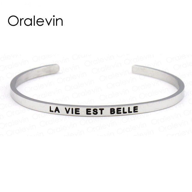 Ss Positive Inspirational Quote Bracelet Cuff Silver
