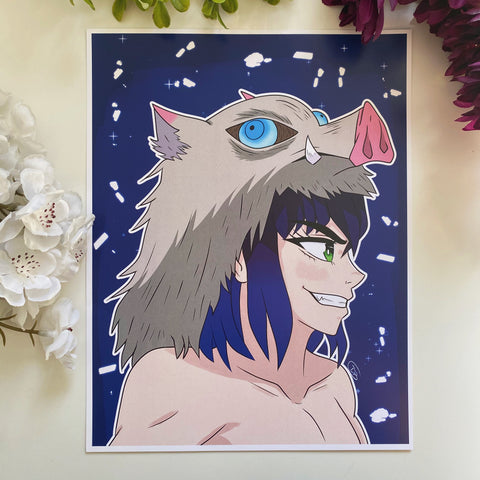 Boar Head Boy Print