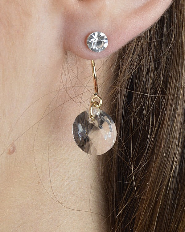 Clear Crystal Drop Earrings with Post Nut Closure - Local Tres