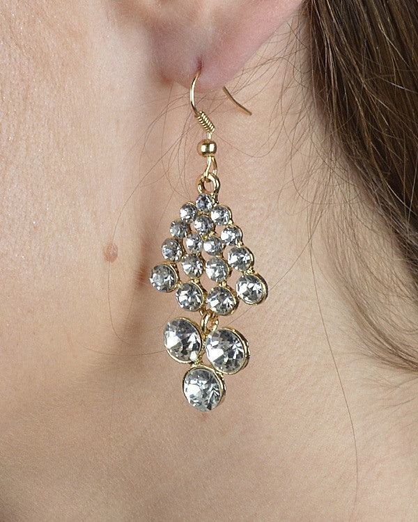Crystal Studded Chandelier Style Earrings - Local Tres