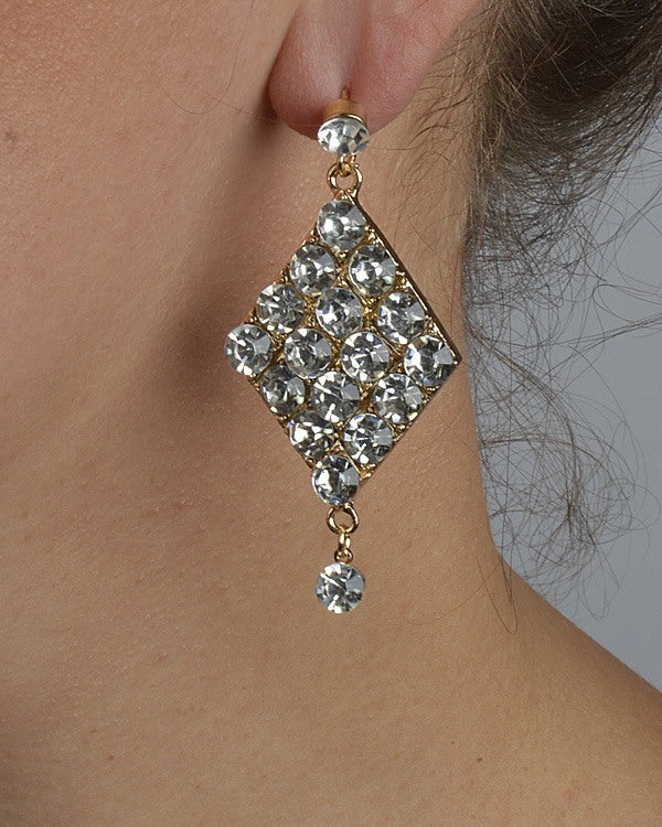 Crystal Studded Diamond Shaped Earrings with Single Crystal Drop - Local Tres