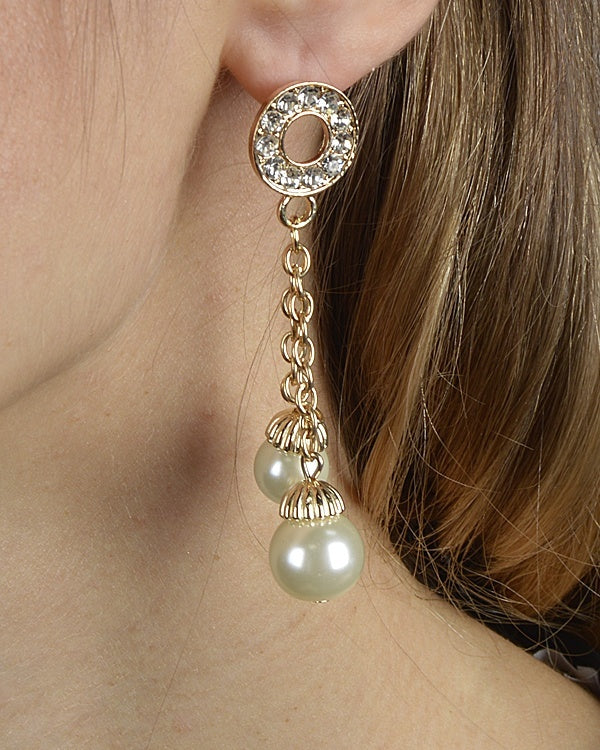 Rhinestone Studded Dual Paneled Pearl Drop Earrings - Local Tres