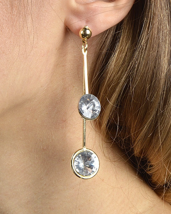 Rhinestone Studded Drop Earrings with High and Low Strands-id.30527 - Local Tres