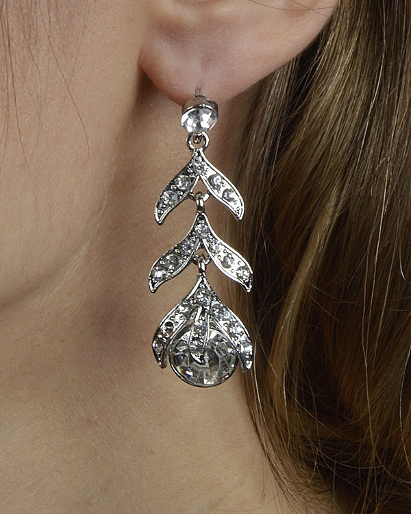 Leaf Styled Rhinestone Studded Drop Earrings - Local Tres