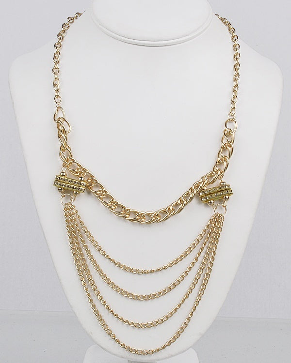 Rhinestone Accented Long Multi-Strand Chain Necklace - Local Tres