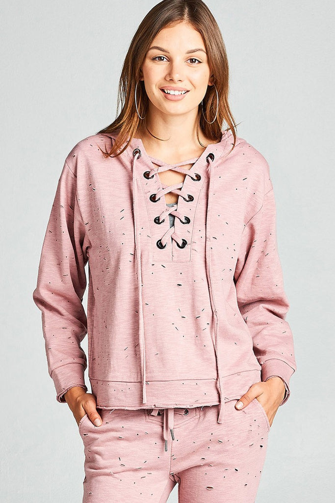 Ladies fashion dropped long sleeve grommet distressed cotton polyester slub french terry hoodie top - Local Tres