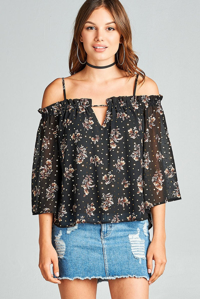 Ladies fashion bell sleeve open shoulder floral with gold foil printed crepe chiffon top - Local Tres