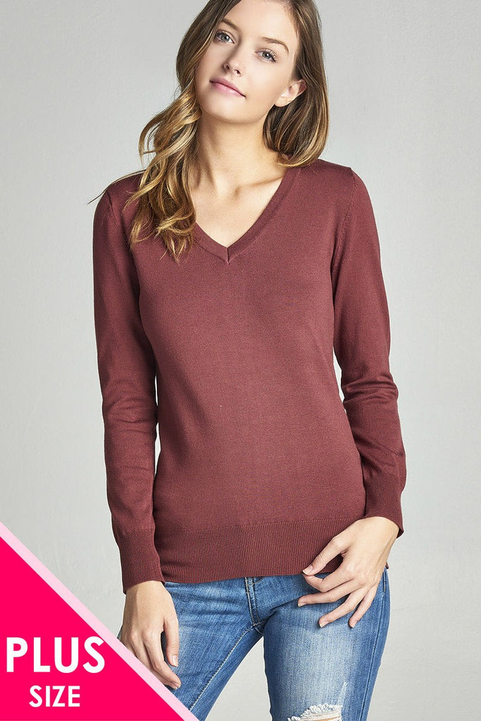 Plus size long sleeve v-neck classic sweater - Local Tres