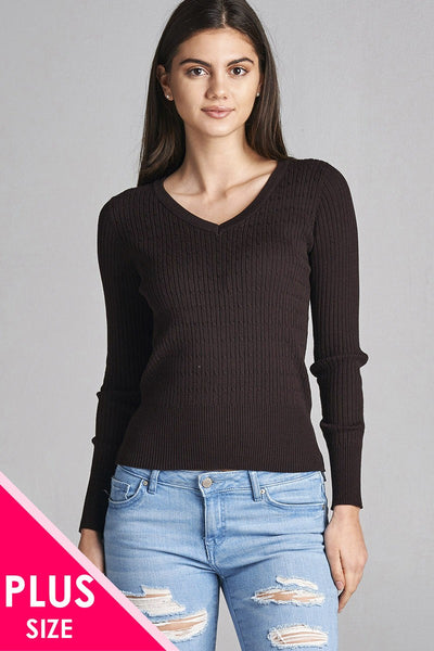 Plus size long sleeve v-neck cable knit classic sweater - Local Tres