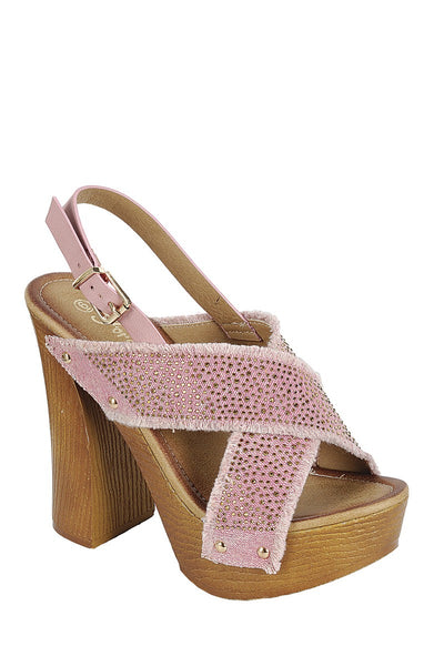 Ladies fashion ankle strap with adjustable buckle, wooden block heel - Local Tres
