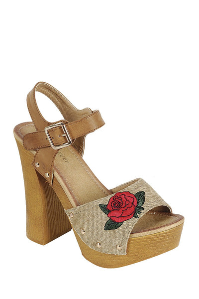 Ladies fashion leather upper slingback strap with buckle, with wooden stacked block heel - Local Tres
