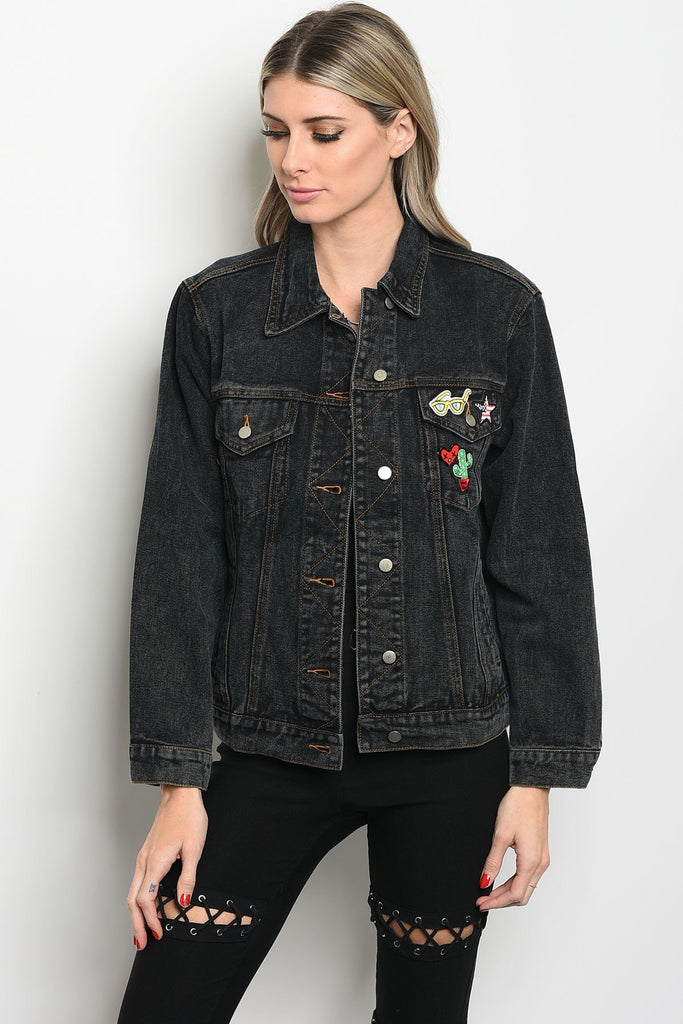 Ladies fashion long sleeve denim boyfriend fit jacket that features a collard neckline and pin details - Local Tres