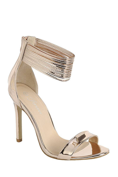 Ladies fashion simple, sophisticated and simply chic. high heel sandal, peep almond toe, stiletto heel, buckle closure - Local Tres