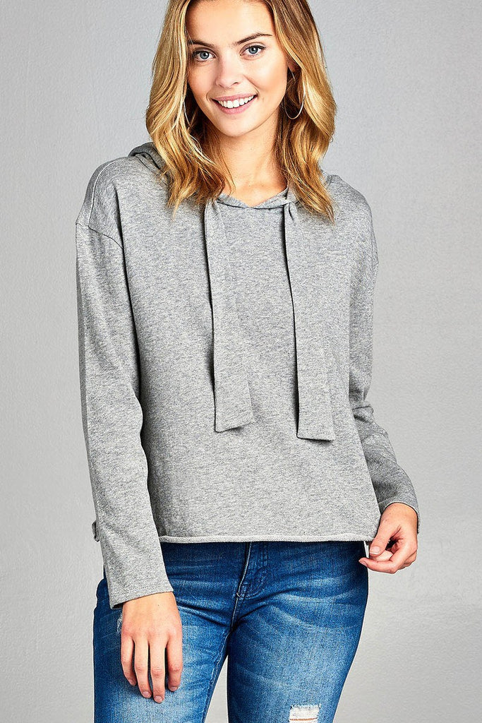 Ladies fashion long dolman sleeve drawstring hoodie cut out hem french terry top - Local Tres