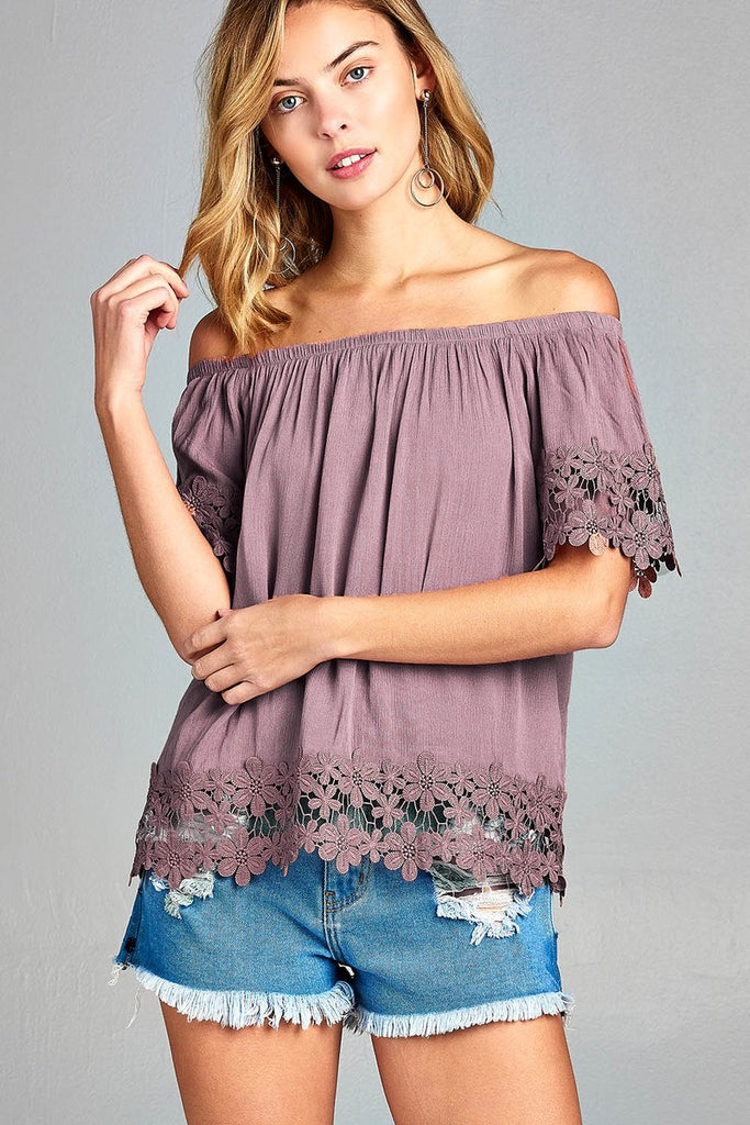 Ladies fashion off the shoulder w/sleeve and hem crochet lace crinkle gauze woven top - Local Tres