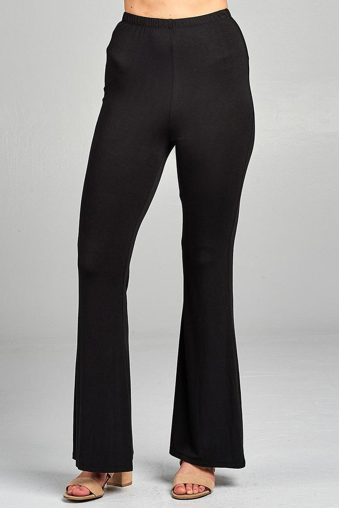 Ladies fashion bell bottom rayon spandex jersey long pants - Local Tres