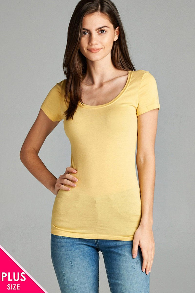 Ladies fashion plus size basic short sleeve scoop neck tee - Local Tres