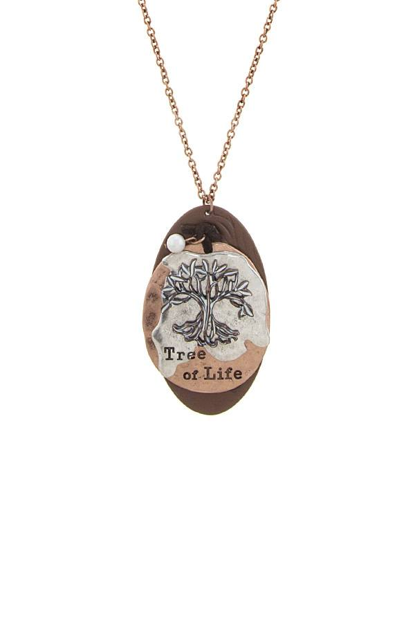 Tree of life disk pendant necklace - Local Tres