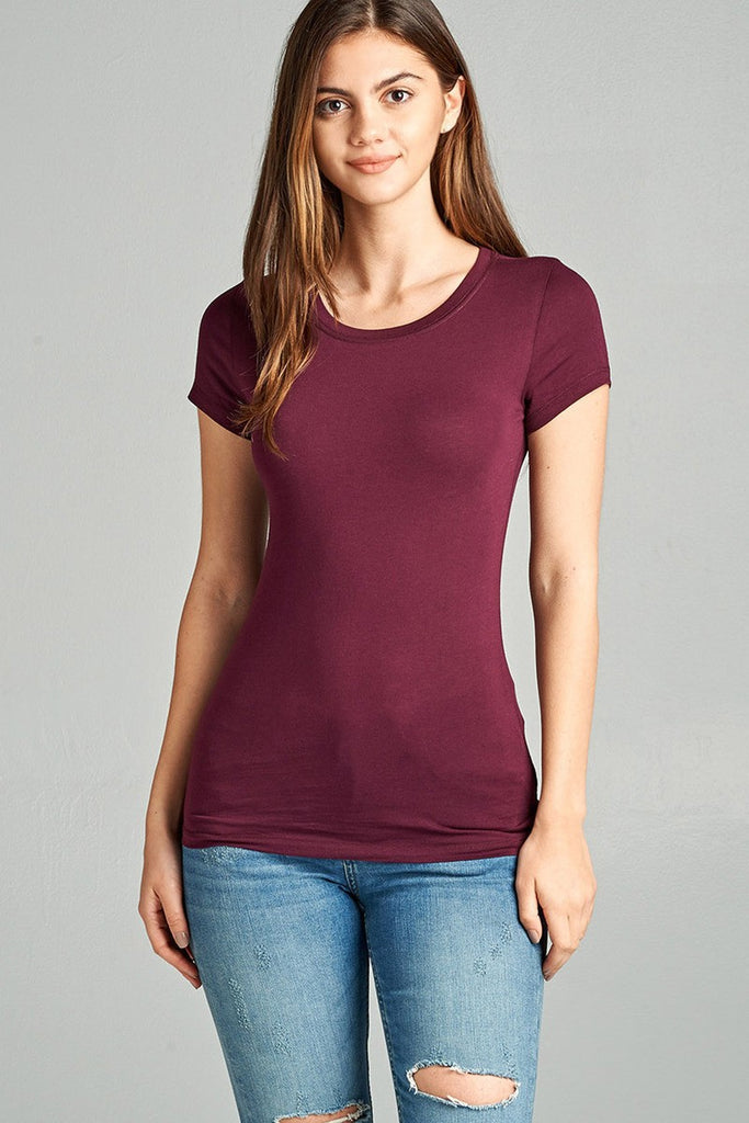 Ladies fashion short sleeve crew neck tee w/ contrast neck inbinding - Local Tres