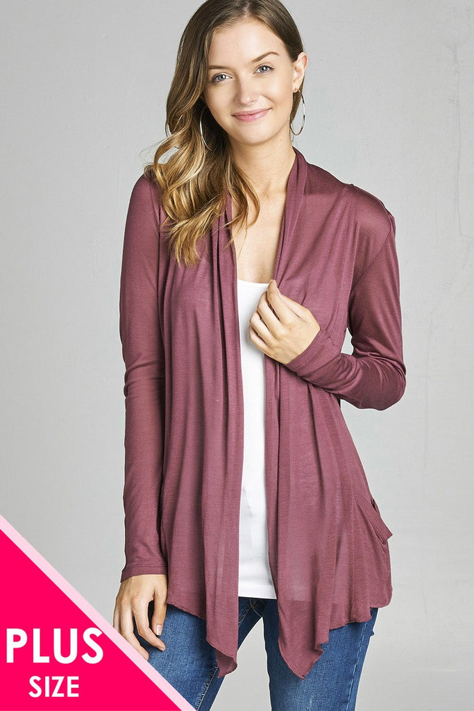 Ladies fashion plus size long sleeve flyaway/ cardigan w/ side pockets - Local Tres