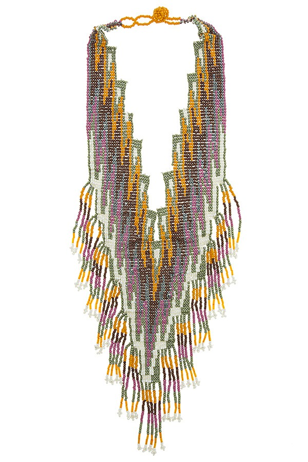Seed bead oversized aztec chevron bib necklace - Local Tres