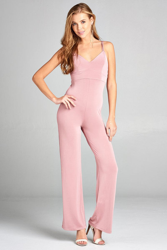 Ladies fashion v-neck w/back cross strap long leg poly spandex knit jumpsuit - Local Tres