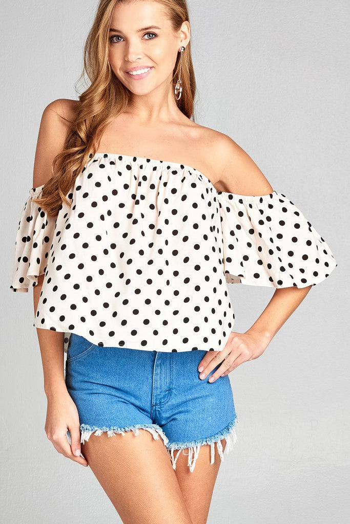 Ladies fashion off the shoulder dot print rayon challis woven top - Local Tres