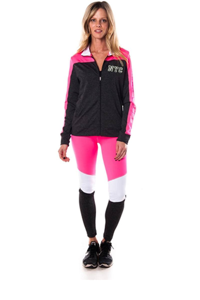 Ladies fashion active sport yoga / zumba 2 pc set zip up jacket & leggings outfit - Local Tres