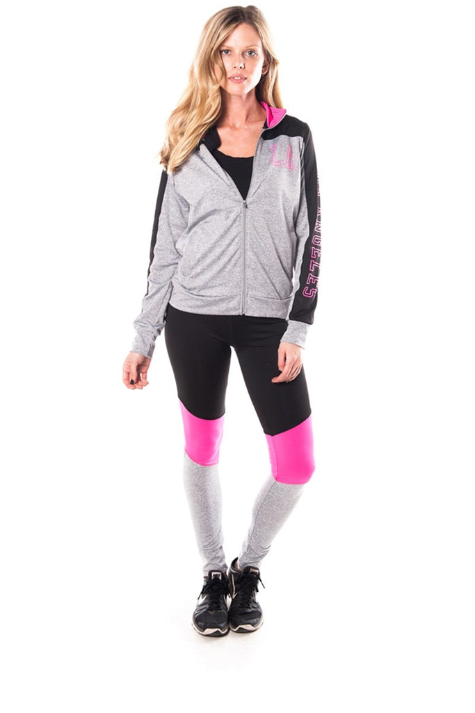 Ladies fashion plus size los angeles logo active 2 pcs set outfit - Local Tres