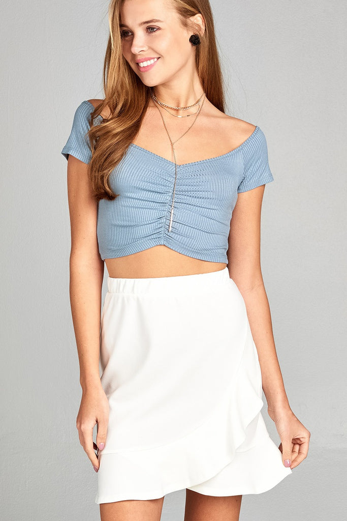 Ladies fashion short sleeve off the shoulder front shirring detail rayon spandex rib crop top - Local Tres