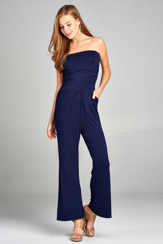 Ladies fashion tube top long wide leg rayon spandex jumpsuit - Local Tres