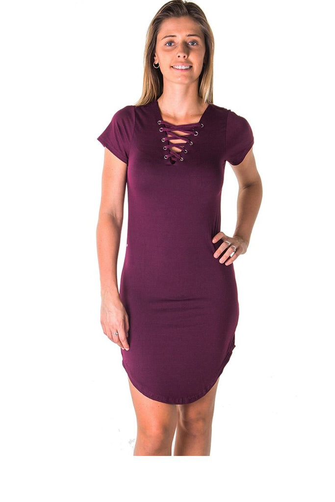 Ladies fashion round hem t shirt dress and lace up v neck - Local Tres