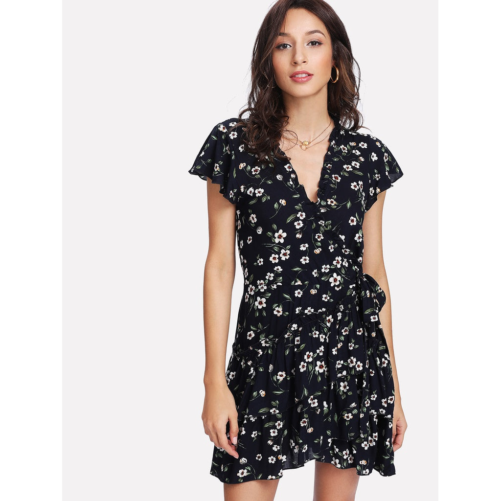 Frilled Trim Asymmetrical Layered Hem Dress - Local Tres