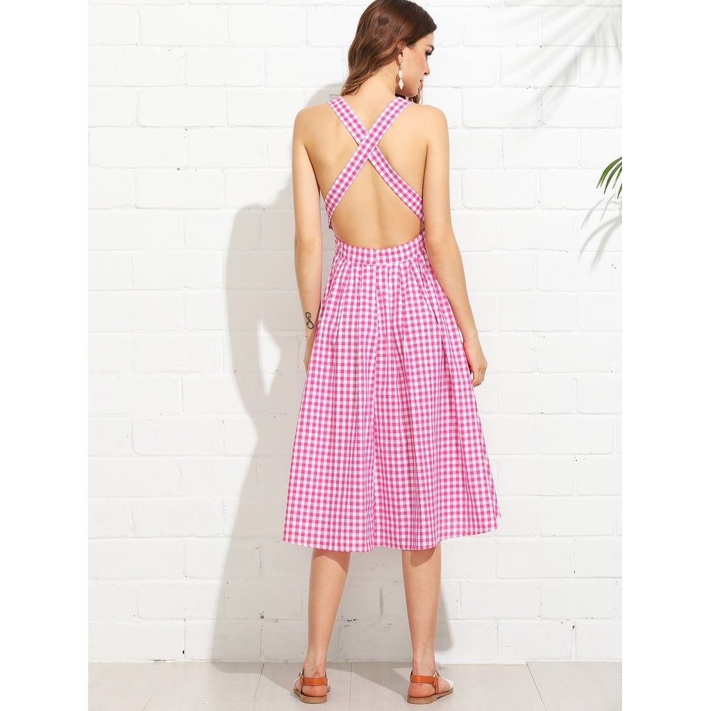 Striped Criss Cross Back Swing Dress - Local Tres