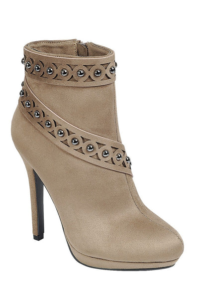 Ladies fashion high heel ankle boot, almond toe, stiletto heel, with zipper closure and decorative studs - Local Tres