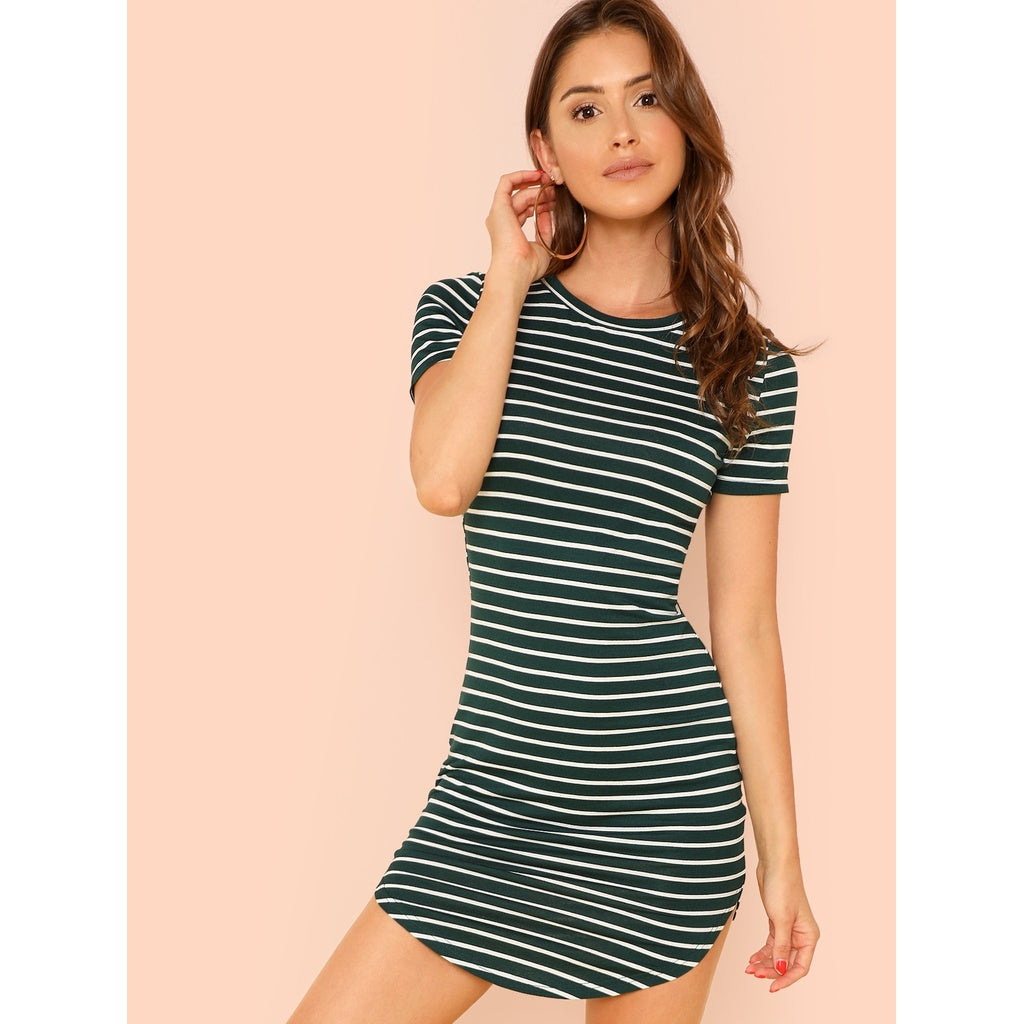 Striped Curved Hem Dress - Local Tres