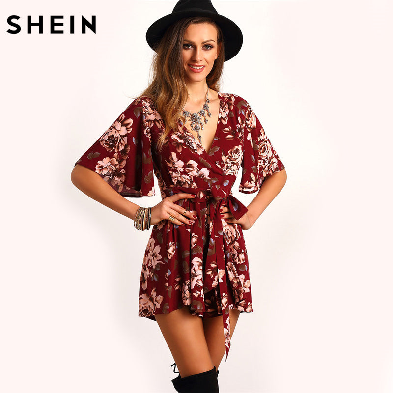 SHEIN Shorts Rompers Womens Jumpsuits Summer Ladies Red Sexy Deep V Neck Short Sleeve Floral Tie Waist Casual Jumpsuit - Local Tres